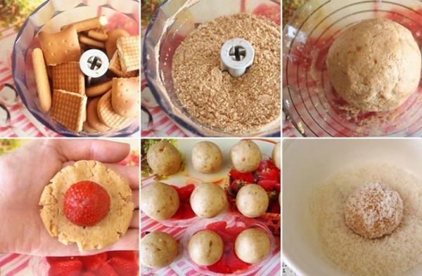 Рецепт приготування полуничних тістечок без випічки
