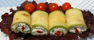 Рулетики з кабачків з сиром і часником, рецепт приготування
