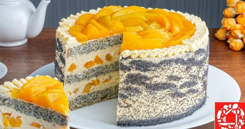 Смачний тортик з персиками, рецепт приготування