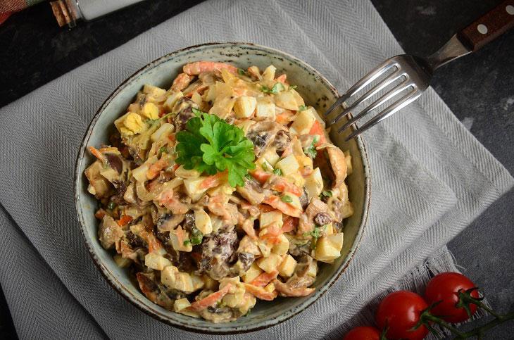 Салат «Білоруський» з печінкою і грибами - смачний рецепт на будь-яке свято